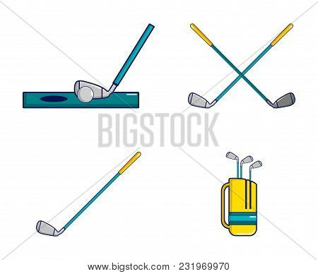 Golf Stick Icon Set. Cartoon Set Of Golf Stick Vector Icons For Web Design Isolated On White Backgro
