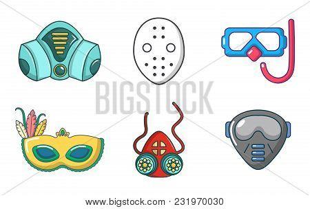 Mask Icon Set. Cartoon Set Of Mask Vector Icons For Web Design Isolated On White Background