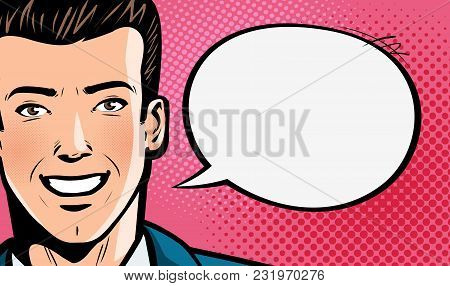 Happy Young Man In Business Suit Or Businessman Says. Pop Art Retro Comic Style. Cartoon Vector