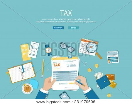 Tax Payment. Man Fills The Tax Form And Counts. Financial Calendar, Money, Cash, Gold Coins, Calcula