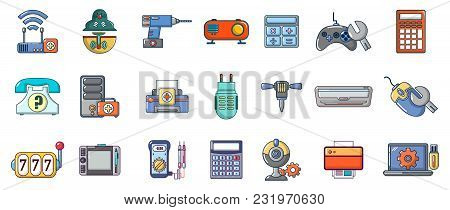 Electronic Device Icon Set. Cartoon Set Of Electronic Device Vector Icons For Web Design Isolated On