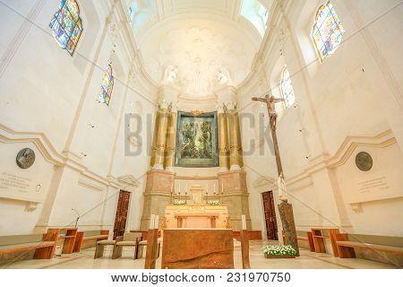 Fatima, Portugal - August 15, 2017: Altar Inside Basilica Of Our Lady Of Fatima, One Of Most Importa