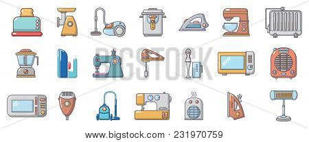 Home Appliances Icon Set. Cartoon Set Of Home Appliances Vector Icons For Web Design Isolated On Whi