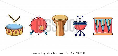 Drums Icon Set. Cartoon Set Of Drums Vector Icons For Web Design Isolated On White Background
