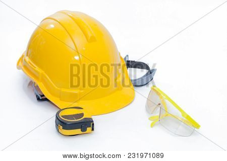 Safety Glasses Protection And Safety Helmet On White Background
