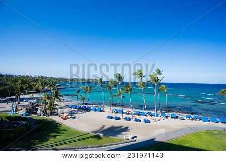 Mauna Lani Bay, Hawaii - January 5, 2018: Beach Cabanas Setup And Ready For Guests Early In The Morn