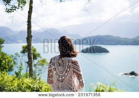 Girl Standing In A Viewpoint In Picinguaba, Rio De Janeiro, Brazil