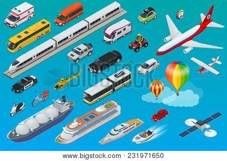 Flat Isometric City Transport Icon Set. Taxi, Ambulance, Trolleybus, Police, Safari Travel, Bicycle,