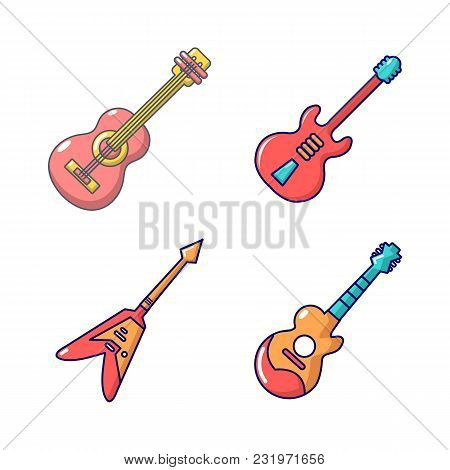 Guitar Icon Set. Cartoon Set Of Guitar Vector Icons For Web Design Isolated On White Background