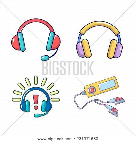 Headsets Icon Set. Cartoon Set Of Headsets Vector Icons For Web Design Isolated On White Background