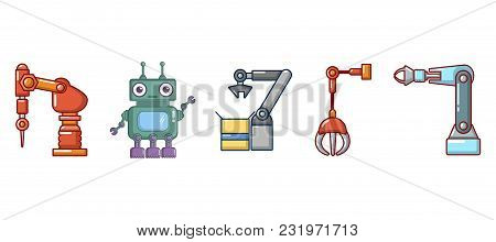Robot Icon Set. Cartoon Set Of Robot Vector Icons For Web Design Isolated On White Background