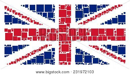 Uk Flag Pattern Combined Of Filled Square Pictograms. Vector Filled Square Items Are United Into Mos