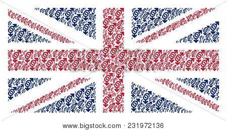 United Kingdom State Flag Composition Designed Of Gay Symbol Pictograms. Vector Gay Symbol Elements