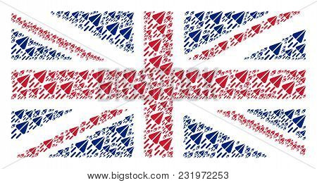 Great Britain Flag Pattern Done Of Space Ship Pictograms. Vector Space Ship Items Are United Into Ge