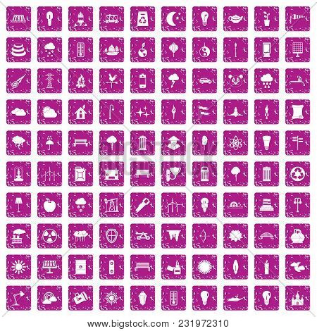 100 Street Lighting Icons Set In Grunge Style Pink Color Isolated On White Background Vector Illustr