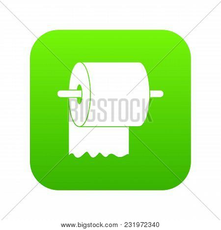 Roll Of Toilet Paper On Holder Icon Digital Green For Any Design Isolated On White Vector Illustrati