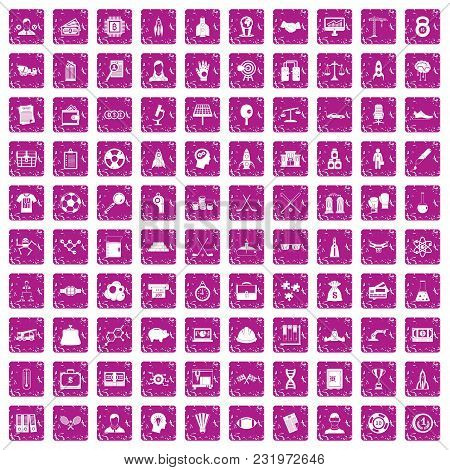100 Success Icons Set In Grunge Style Pink Color Isolated On White Background Vector Illustration