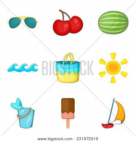 Beach Vacation Icons Set. Cartoon Set Of 9 Beach Vacation Vector Icons For Web Isolated On White Bac