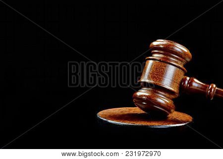Wooden Gavel And Justice With Room For Your Type.