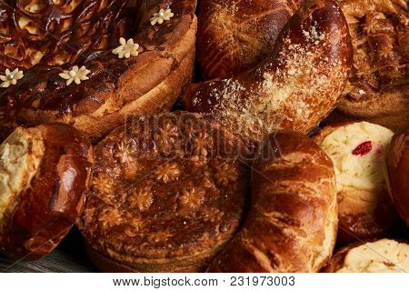 Traditional Homemade Russian Easter Baked Goods, Kulichi, Patties With Cottage Cheese, Karavai And L