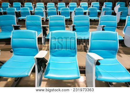 Lecture Chairs In The Empty Lecture Hall.