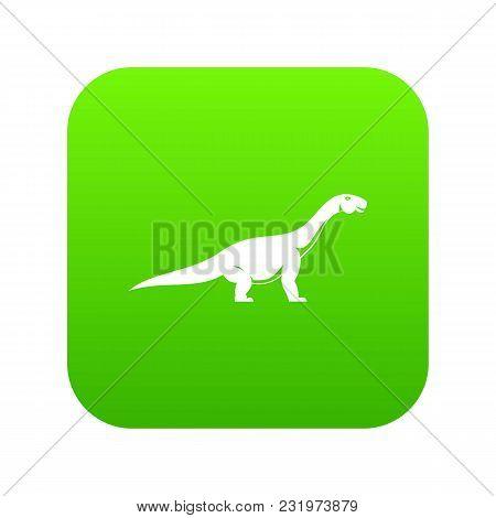 Titanosaurus Dinosaur Icon Digital Green For Any Design Isolated On White Vector Illustration