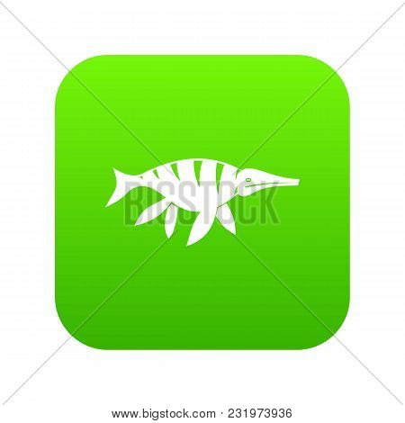 Aquatic Dinosaur Icon Digital Green For Any Design Isolated On White Vector Illustration