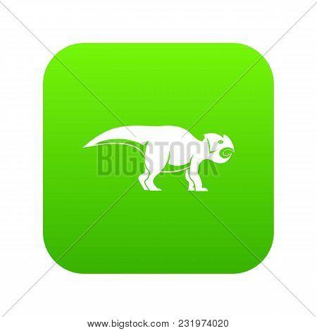 Ceratopsians Dinosaur Icon Digital Green For Any Design Isolated On White Vector Illustration