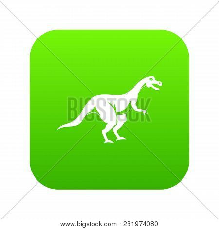 Theropod Dinosaur Icon Digital Green For Any Design Isolated On White Vector Illustration