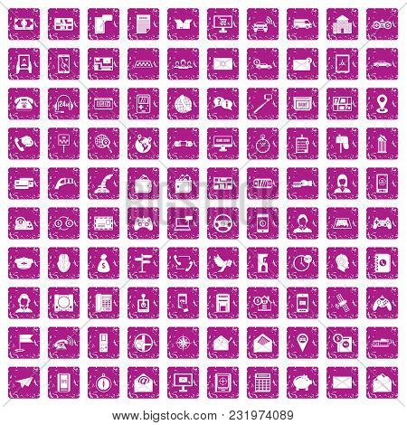 100 Telephone Icons Set In Grunge Style Pink Color Isolated On White Background Vector Illustration