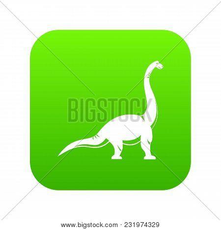 Brachiosaurus Dinosaur Icon Digital Green For Any Design Isolated On White Vector Illustration