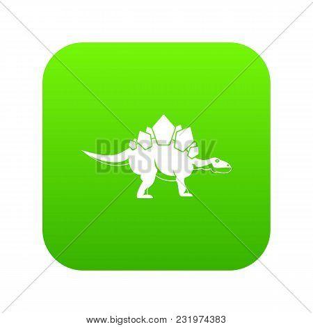 Stegosaurus Dinosaur Icon Digital Green For Any Design Isolated On White Vector Illustration