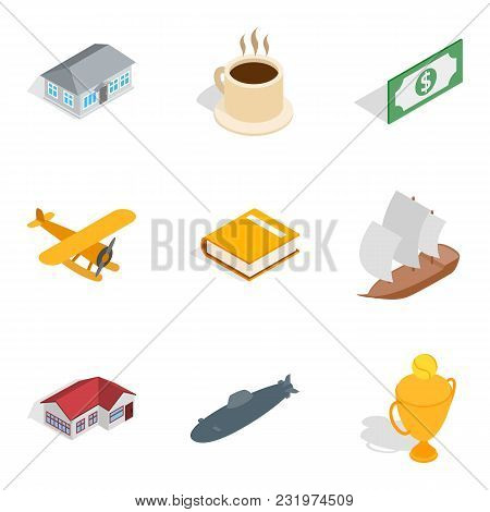 Airline Icons Set. Isometric Set Of 9 Airline Vector Icons For Web Isolated On White Background