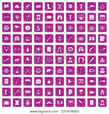 100 Binoculars Icons Set In Grunge Style Pink Color Isolated On White Background Vector Illustration