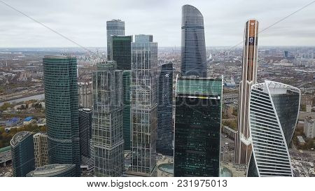 Moscow City - View Of Skyscrapers Moscow International Business Center. High Rise Buildings Of Mosco