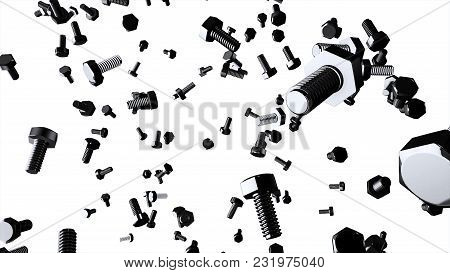 Animation Of Flying Bolts On White Background, 3d. Bolts On White Background. Bolts And Nuts Isolate