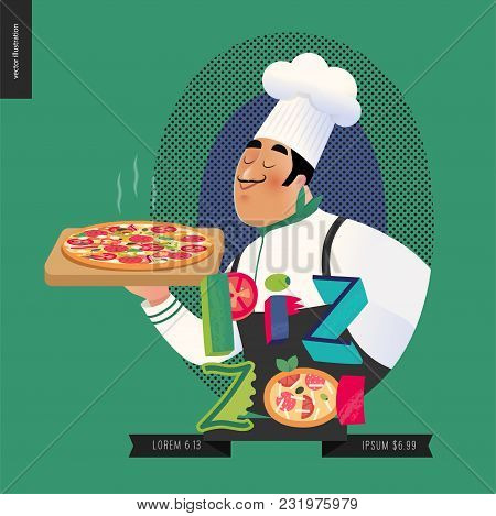 Italian restaurant set - italian restaurant logo with a cook enjoing the pizza smell and lettering Pizza, cartoon character