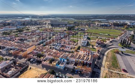 Aerial. City Of Faro From Bird's Eye View, Street Hortas De Figuras.