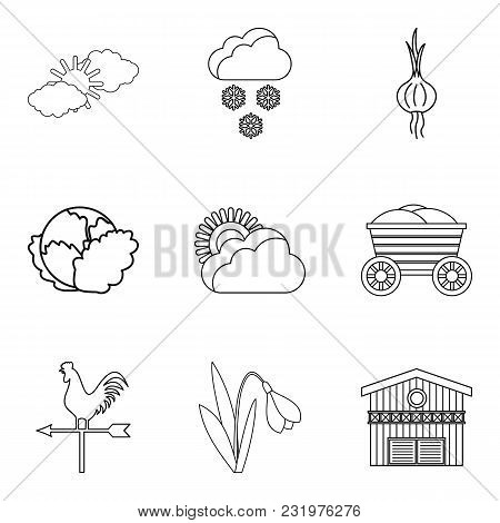 Vegetable Mix Icons Set. Outline Set Of 9 Vegetable Mix Vector Icons For Web Isolated On White Backg