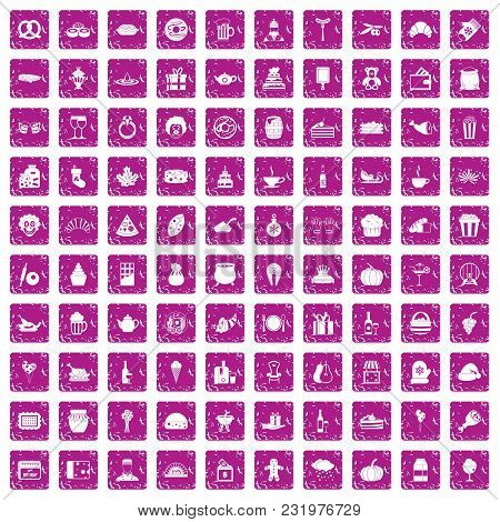100 bounty icons set in grunge style pink color isolated on white background vector illustration poster