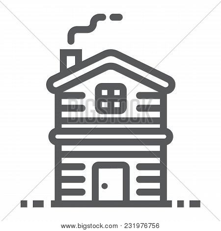 Cottage Line Icon, Real Estate And Home, Apartment Sign Vector Graphics, A Linear Pattern On A White
