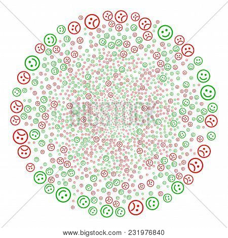 Happy And Sad Smiley Swirl Cluster. Object Spiral Combined From Scatter Happy And Sad Smiley Items.
