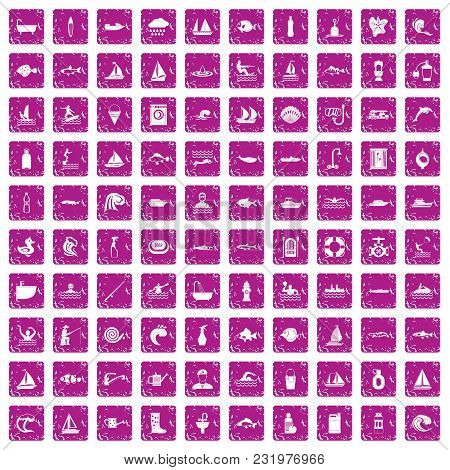 100 Water Icons Set In Grunge Style Pink Color Isolated On White Background Vector Illustration