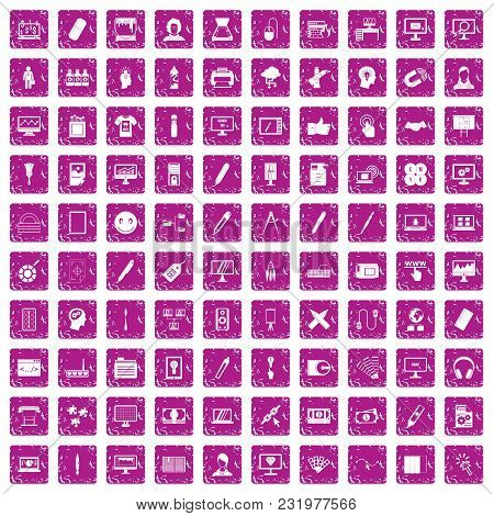 100 Webdesign Icons Set In Grunge Style Pink Color Isolated On White Background Vector Illustration