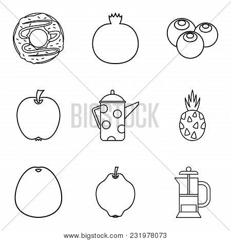 Macrobiotic Food Icons Set. Simple Set Of 9 Macrobiotic Food Vector Icons For Web Isolated On White