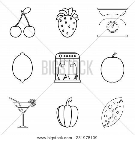 Macrobiotic Menu Icons Set. Simple Set Of 9 Macrobiotic Menu Vector Icons For Web Isolated On White