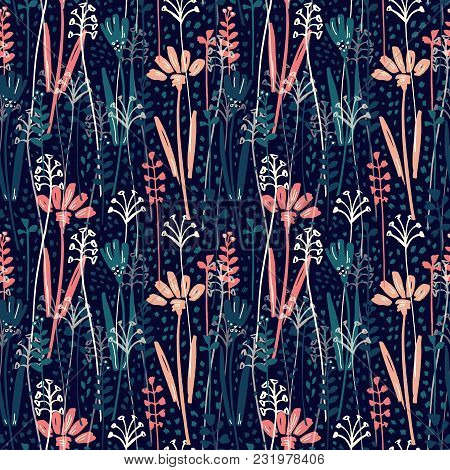 Vector Seamless Pattern With Hand Drawing Wild Plants, Herbs And Flowers, Colorful Botanical Illustr