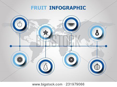 Infographic Design With Fruit Icons, Stock Vector