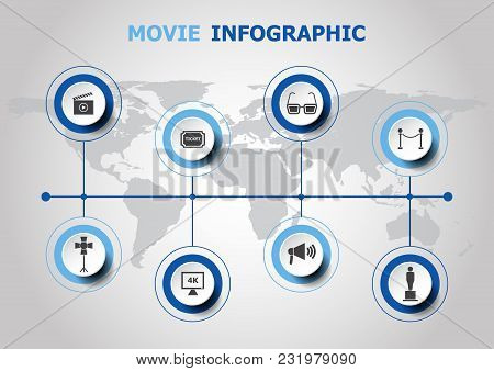Infographic Design With Movie Icons, Stock Vector