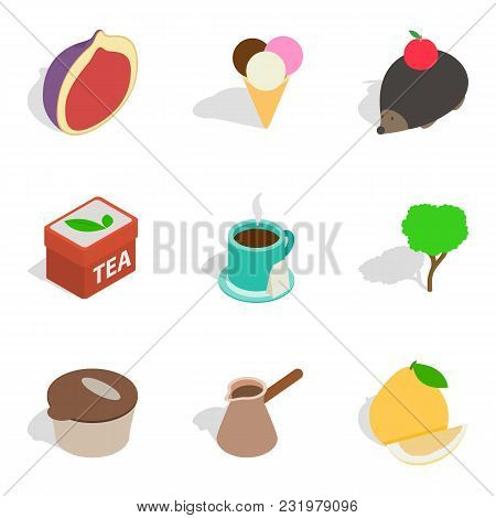Raw Food Icons Set. Isometric Set Of 9 Raw Food Vector Icons For Web Isolated On White Background